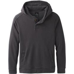 Prana Trawler Hooded Henley - Mens-Charcoal Heather