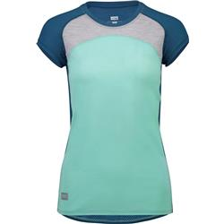 Mons Royale Bella Tech Tee - Womens-Oily Blue / Peppermint / Grey Marl