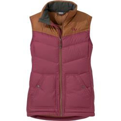 Outdoor Research Transcendent Down Vest - Womens-Garnet / Saddle