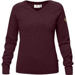 Fjallraven Sormland V-Neck Sweater - Womens-Dark Garnet
