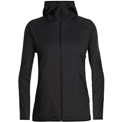 Icebreaker Coriolis II Hooded Windbreaker - Womens-Black / Monsoon