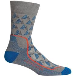 Icebreaker Hike+ Crew Socks - Light Cushion - Elevation - Mens-Timberwolf / Isle / Chili Red