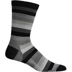 Icebreaker Lifestyle Crew Socks - Ultralight Cushion - Stripe - Mens-Black / Monsoon / Blizzard