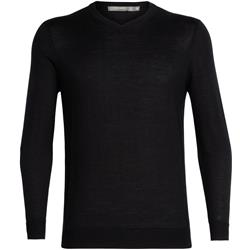Icebreaker Quailburn V-Neck Sweater - Mens-Black
