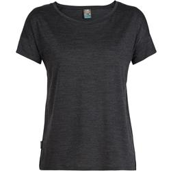 Icebreaker Via SS Scoop - Womens-Black Heather