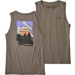 Patagonia Paper Peaks Organic Muscle Tee - Womens-Feather Grey