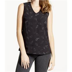 Fig Clothing Vee Sleeveless Top - Womens-Leafy Black