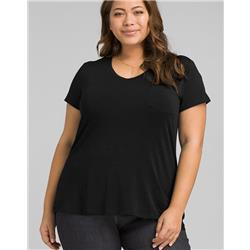 Prana Foundation SS V-Neck Plus - Womens-Black