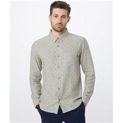 tentree Mancos LS Button Up - Mens-Heathered Vetiver-Tree Dobby AOP Olive Night