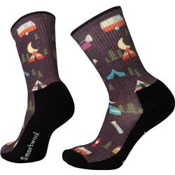 Smartwool Hike Light Summer Nights Print Crew Socks - Womens-Bordeaux
