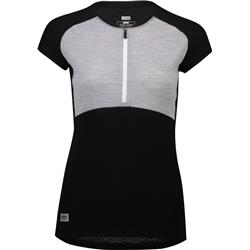 Mons Royale Bella Tech Zip Tee - Womens-Black / Grey Marl