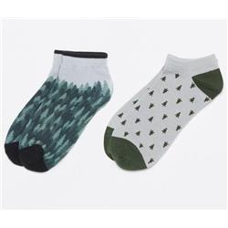 tentree 2-Bottle Ankle Sock - 2 Pack-All Over Trees / Tree Dobby