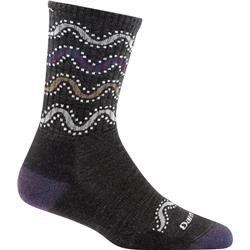 Darn Tough Socks Wandering Stripe Micro Crew Light Cushion Socks - Womens-Charcoal