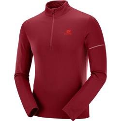 Salomon Agile Half-Zip Mid - Mens-Biking Red / Fiery Red