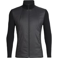 Icebreaker Lumista Hybrid Sweater Jacket - Mens-Black