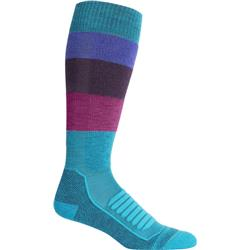 Icebreaker Ski+ Medium Over The Calf Wide Stripe - Womens-Arctic Teal