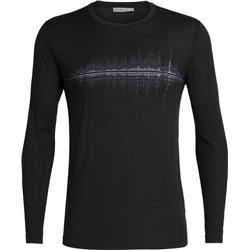 Icebreaker Tech Lite LS Crewe Snow Wave - Mens-Black