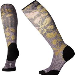 Smartwool Compression Sightseeing Sunflower Print Over The Calf Socks - Womens-Mountain Purple